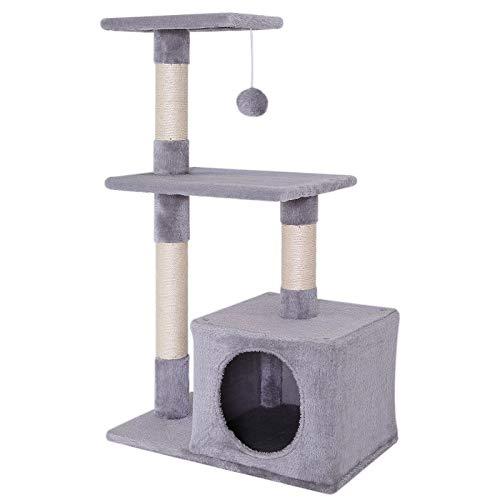 dibea KB00253 Kratzbaum, Kletterbaum für Katzen (Höhe 80 cm), hell-grau