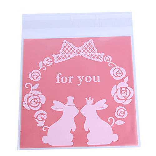Winwinfly Kaninchen Candy Cookie Taschen Hochzeit Geburtstag Party Handwerk Selbstklebende Kunststoff Keks Verpackung Geschenktüte