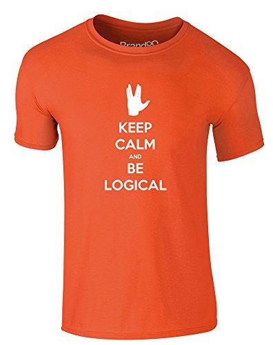 Brand88 - Keep Calm and be Logical, Erwachsene Gedrucktes T-Shirt Orange/Weiß