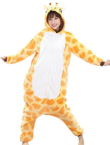 Ganzkörper Tier-Kostüm für Erwachsense - Plüsch Einteiler Overall Jumpsuit Pyjama Schlafanzug - viele Tiere zur Auswahl Giraffe