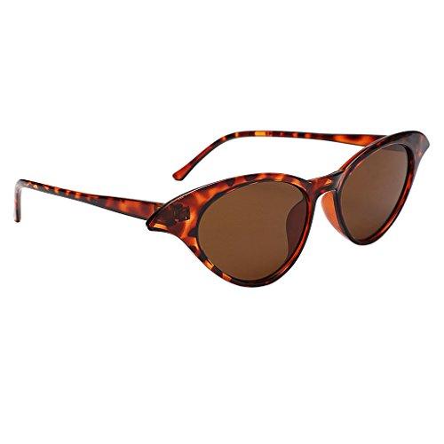 Baoblaze Damen Herren Oval Polarisiert Sonnenbrille Metallrahmen Flach Kreis Linse Brille - Leopard Frame Brown Lens