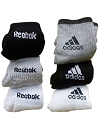 Reebok Unisex Solid Ankle Length Socks (Pack of 6) (1AD-RB-1SET_Free Size)