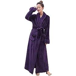 PUTUO Peignoir de Bain Femme Peignoir en Eponge Microfibre, Femme Robe de Chambre Longue Hiver Chaud,Violet,XL