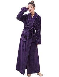 PUTUO Peignoir de Bain Femme Peignoir en Eponge Microfibre, Femme Robe de Chambre Longue Hiver Chaud