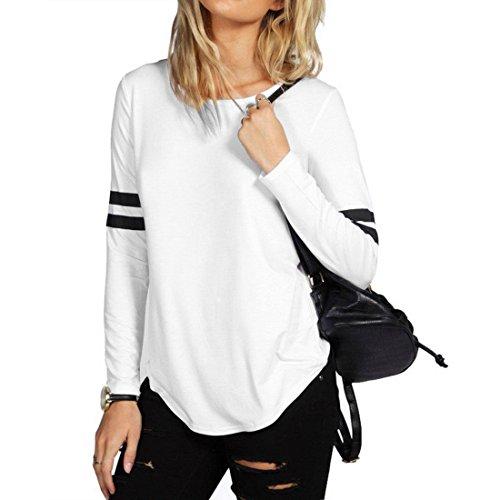 Dihope Femme Automne T-Shirt Col Rond Top à Manches Longues Haut Casual Tee-Shirt de Loisir Blanc