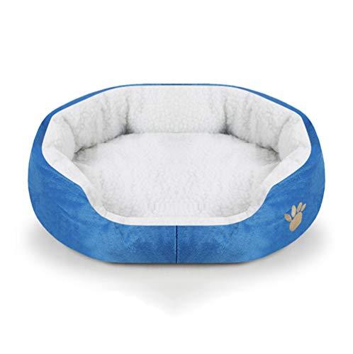 Pet dog cat bed Haustierbett für Hunde und Katzen, aus Plüsch, Polypropylen-Baumwolle, mehrmals waschbar, geeignet für Kätzchen, Welpen, Teetassen etc, blau -