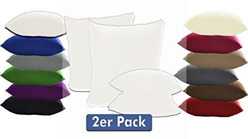 Doppelpack Serie Jersey Kissenbezüge mit Reißverschluss aus 100% Baumwolle in 12 modernen Farben und 4 Größen(40 x 40 cm, Weiß)