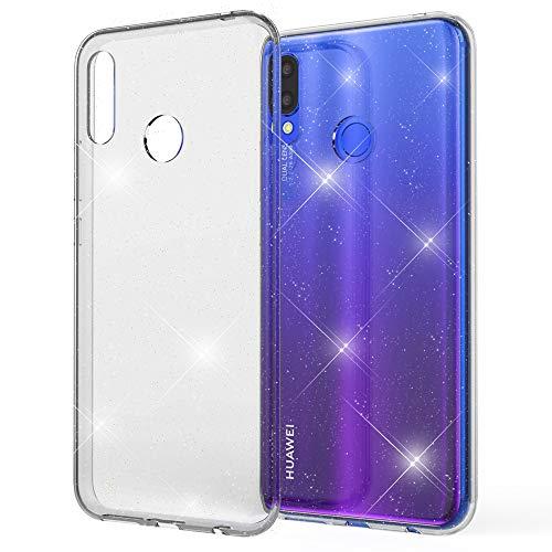 NALIA Glitter Hülle kompatibel mit Huawei P Smart Plus, Glitzer Handyhülle Ultra-Slim Silikon Case Cover Schutzhülle, Bling Handy-Tasche Bumper, Dünnes Strass Smartphone Backcover, Farbe:Transparent