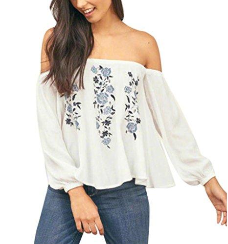 Frau Aus Schulter Blumen T-Shirt Hirolan Drucken Lange Hülse Tops (Weiß, M) (Ruffle Lace Tee)