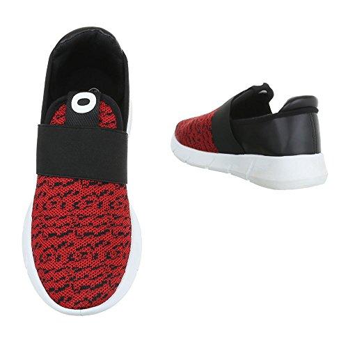 Ital-Design , chaussons dintérieur femme rouge/noir