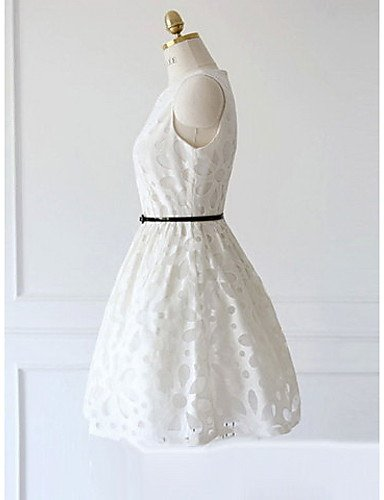 PU&PU Robe Aux femmes Gaine Simple,Fleur Col Arrondi Au dessus du genou Polyester NAVYBLUE-L