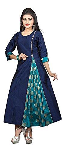 Ruchika Fashion Women's Cotton Silk Kurti (Blue,X-Large)