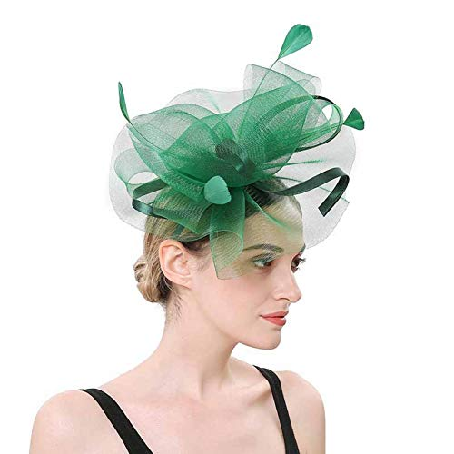 HARORU Frauen Fascinator Hut Blume Mesh Federn Fedoras Caps Stirnband Haarspange für Mädchen Party Schwarz Headwear Zubehör -