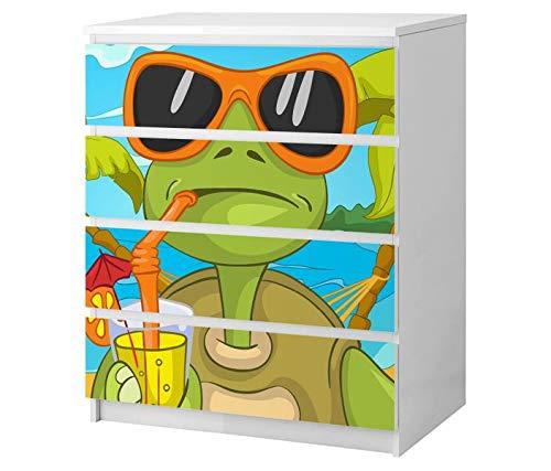 Set Möbelaufkleber für Ikea Kommode MALM 4 Fächer/Schubladen Eidechse grün Urlaub Sonnenbrille Tier Kat2 Kinderzimmer ML4 Aufkleber Möbelfolie sticker (Ohne Möbel) Folie 25B2514