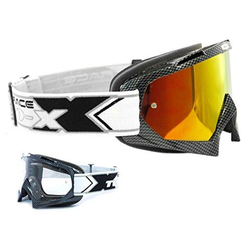 Two-X Race Crossbrille Carbon Glas verspiegelt Iridium MX Brille Motocross Enduro Spiegelglas Motorradbrille Anti Scratch MX Schutzbrille (Carbon Cross)