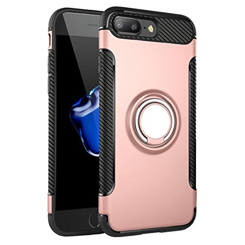 "iPhone 7 Plus Hülle, HICASER Abnehmbare Hybrid Dual Layer Defender Case [Shock Proof] Carbon Faser TPU +PC Handyhülle mit Klappständer für iPhone 7 Plus 5.5"" Dark Blau Rose Gold"