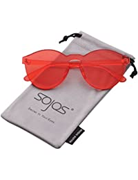 e5e4ae74a4e60 SOJOS Lunettes de Soleil Sans Monture Ronde Transparent Coloré pour Femme  SJ2056