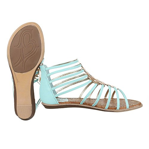 Riemchensandalen Damenschuhe Knöchelriemchen Riemchen Reißverschluss Ital-Design Sandalen / Sandaletten Hellblau