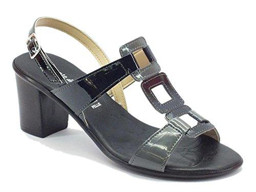 Sandalo Mercante di Fiori per donna in vernice nero grigio tacco medio (Taglia 39)