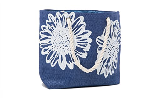 Strandtasche Damen + Zehentrenner Sets – Blume Muster - Airee Fairee Blau(EU 40-41)