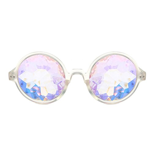 Makefortune Frauen Sonnenbrillen, Kreatives Design Kaleidoskop Gläser Rave Festival Party EDM Sonnenbrille Gebeugtes Objektiv (Weiß-A)