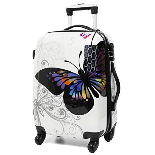 CHARMONI - Valise Cabine ABS 4 Roues 54X36X20CM (Papillon Blanc)