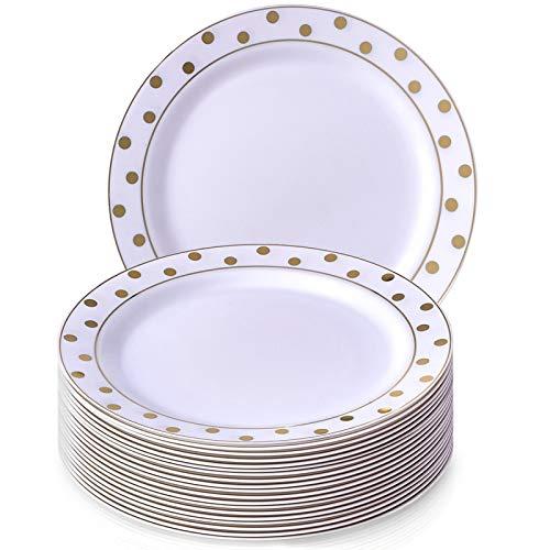 Charmant Pois Collection Blanc avec Doré à pois jetables rond Assiette à salade Dinnerware- Heavyweight Plastique 19,1 cm Round côté plaques