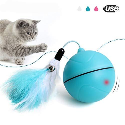 JLCYYSS Interaktives Katzen-Spielzeug, Automatisches Rollendes Ball USB Aufgeladenes Helles Wechselwirkendes Spielzeug Für Katzen Und Hunde, Unterhaltungs-Übungs-Spielzeug Mit Abnehmbarer Feder,Blue