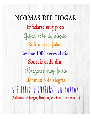 DCine Cuadro Decorativo/Frases positivas/sobre Madera/Regalo/Normas del hogar 19 cm x 25 cm x 4 mm/Madera...