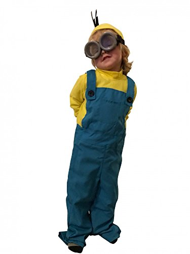 Minion Kinder-Kostüm inklusive Brille für Mädchen und Jungen, Kindergröße:116 - 5 bis 7 Jahre (Kinder Für Halloween Minion Kostüm)