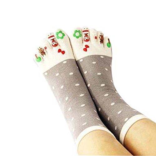 Panda Legends Sport-laufende Baumwolle Bequeme Mannschaft Toe Socken mittlere Rohr Fünf-Finger-Zehe-Socken