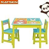 """NTS Sitzgruppe Kindersitzgruppe Kindertischgruppe Holz 1Tisch, 2 Stühlen 1 Tisch und 2 Stühle """"4 Tiere"""""""