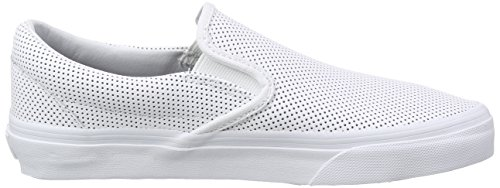 Vans Classic Slip-On, Baskets Basses Mixte Adulte Blanc (Perf Leather/White)