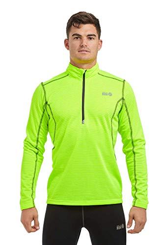Time To Run Maglietta Termica Leggera a Manica Lunga da Uomo, con Zip al Collo RER La Corsa/Palestra, XL Verde Lime