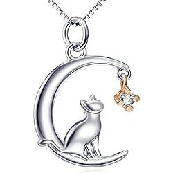 Silver Mountain Mujer plata de ley luna gato collar joyas con 45 cm Cadenas