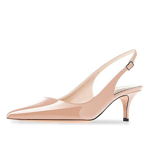 en Heel Spitze Patent Slingback Kleid Pumps Schuhe für Party Patent Nackt Größe 40 EU (Mädchen Verkleiden Sich Schuhe)