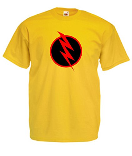 Flash-mens Tee (SuperPraise New Mens Reverse Flash Professor Zoom Comic Superhero Costume T Shirts- Yellow Mens Tee)