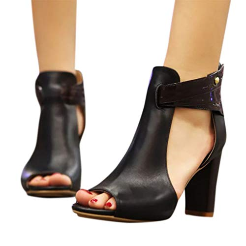 TianWlio Damen Sandalen Frauen Fish Mouth High Heel Reißverschluss Sandalen Leder Kurze Stiefel Einzelschuhe Black 37