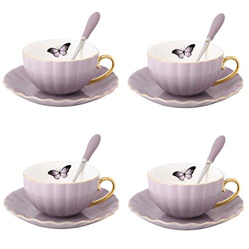Artvigor, Porzellan Kaffeeservice für 4 Personen, 12 tlg. Kaffeetassen Set, Lila + Weiß