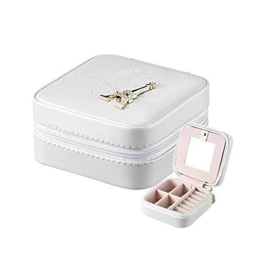Preisvergleich Produktbild Taiycyxgan Kreative Portable Schmuckkasten Reisen Schmuckschatulle Aufbewahrungsbox Ohrringe Halskette PU-Leder Ohrring Speicher Weiß