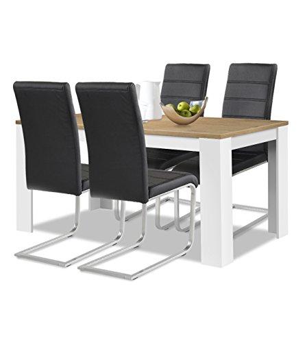 agionda® Esstisch + Stuhlset : 1 x Esstisch Toledo 140 x 90 Wildeiche/Weiss + 4 Freischwinger Kunstleder PU schwarz