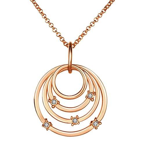 Aeici Kettenhalsketten für Frauen Versilbert Hoher runder Ring Anhänger Weiß Kristall Halskette Weiß 45X4.1X3.2 cm