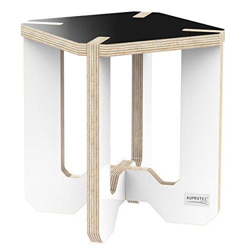 Birke Etagere (AUPROTEC Blumenhocker Beistelltisch HE-12 Birke 25 x 25 x 30 cm Blumenständer schwarz / weiß Multiplex Birken-Sperrholz in exklusivem Design als Pflanzen-Säule Fußbank Hocker Tisch)