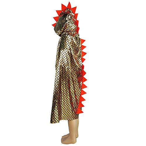 Cosanter Halloween Umhänge Mäntel Glitzerndes Dinosaurier-Form 115 cm für Junge und Mädchen Make-up Party Kostüm (Gold)