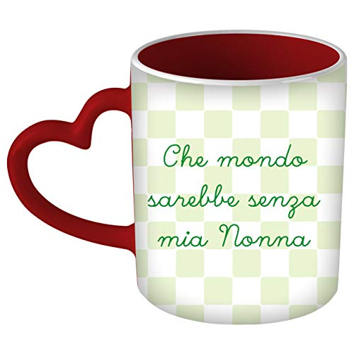 My Custom Style Tazza Cuore Manico Rosso#Festa Nonni-Mio Nonna#325m