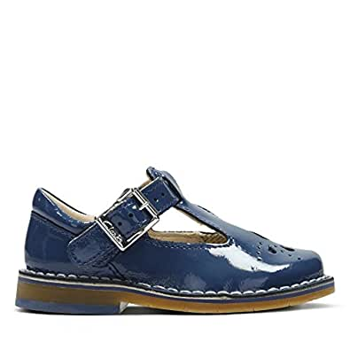 Clarks Yarn Weave First Leather Shoes in Blue Patent Wide Fit Size 4