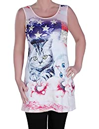 Eyecatch - Kätzchen Damen Asymmetrisch Leibchen Cami Damen Amerika Kätzchen Blumen- Lang Weste Top