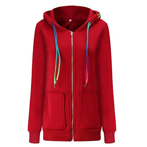 WINWINTOM Oversize Jacke Windbreaker Mantel Frühling Herbst Winter Stilvoll Bequem Outwear, Mode Frauen Herbst Winter Samt Mantel Hoodie Jacke Outwear Zipper Mantel