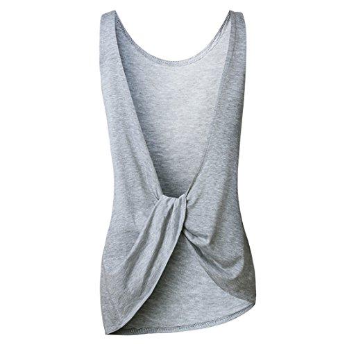 QIYUN.Z Femme Décontractée Été Sans Manches T-Shirt Sans Dossier Gilet De Couleur Solide Irrégulier Gris