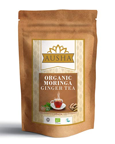 AUSHA Organic Moringa Ginger Tea - 25 Bags ( Alkaline,Detox,Cleanse,Source of Calcium for Vegans,Digestion,Anti Inflammatory,High in Anti OxidantsUnbleached,Caffeine Free)
